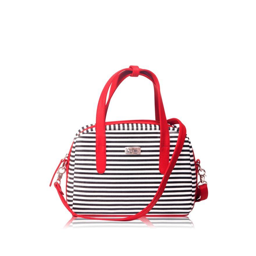 Bolso Mini Bag Lineas Negras - Correa Larga Manos Libres