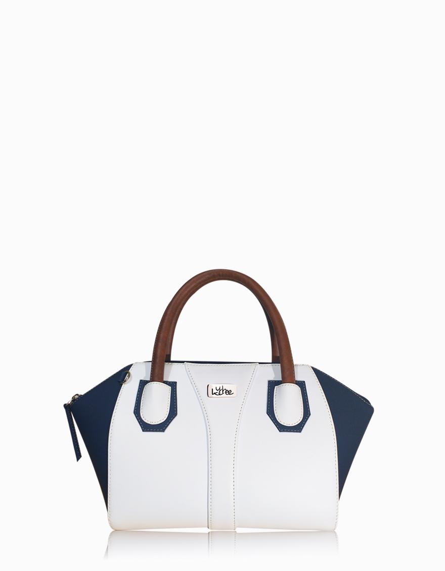 Bolso blanco con azul